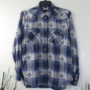 AEO Blue White Plaid Boyfriend Fit Shirt Sz S